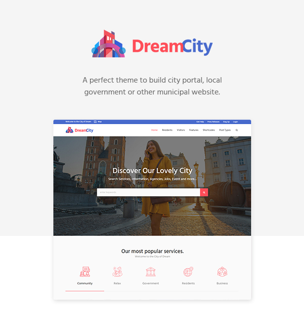 Dream City - City Portal & Government Municipal WordPress Theme (Political)