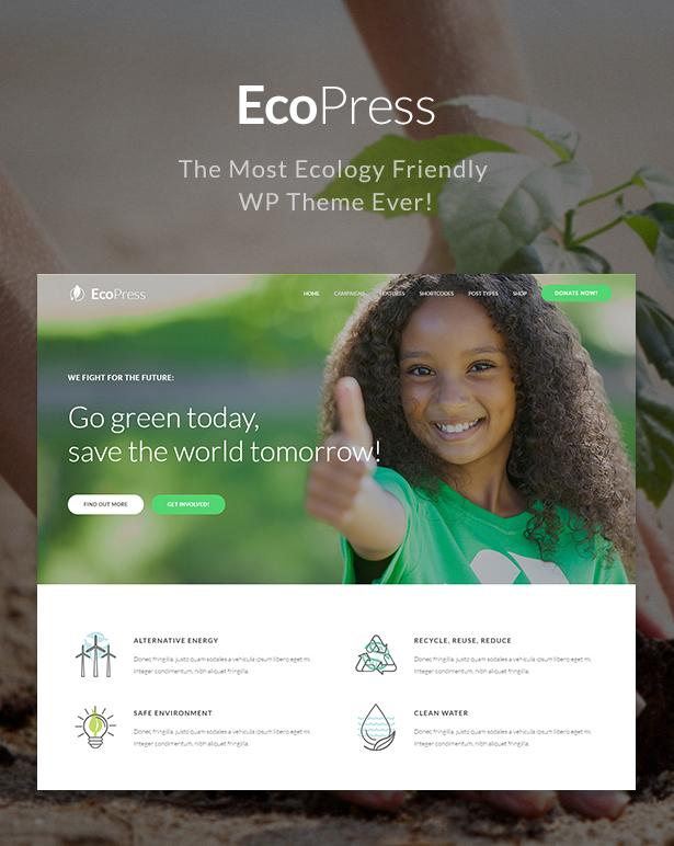 WordPress theme Eco Press - Nature, Ecology & NGO WordPress Theme (Environmental)