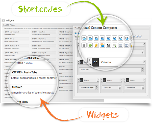 Shortcodes and widgets