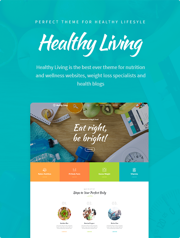 WordPress theme Healthy Living - Nutrition, Weight Loss & Wellness WordPress Theme (Health & Beauty)